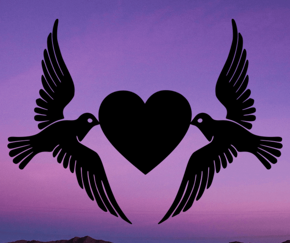 Doves with heart in middle