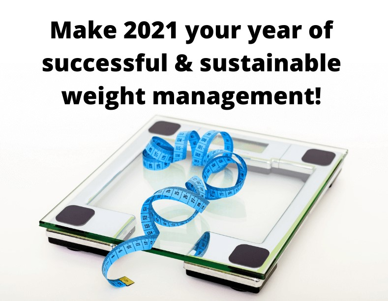 "Scale with measurig tape and caption ""Make 2021 your year of successful & sustainable weight loss!"""